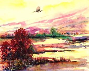Landscape painting Original painting Watercolor painting stork bird painting original bird art artwork bird watercolor painting 8 x 10 art