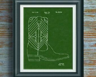 Cowboy Boot Patent Print Cowgirl Art Cowboy Artwork Cowgirl Decoration Cowgirl Print Cowgirl Poster Cowboy Decor Line Dancing Boot PP 7013