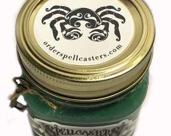 CANCER Astrological Candle Mason Jar Green Natural Soy Wax Hand Poured U.S.A.