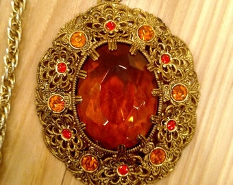 W Germany Amber Rhinestone Gold Color Filigree Necklace Pendant - Vintage Jewelry
