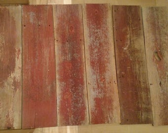 Qty. 6 (4 Ft. Long) Red Reclaimed Barnwood Bundle, Vintage, Rustic Cottage Chic - About 100-years old, Craft Wood, Woodworking