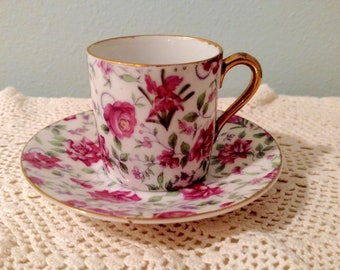 MINI Tea Cup & Saucer, Inarco Demitasse Cup And Saucer - Pink Rose Pattern Mini Tea Cup And Saucer