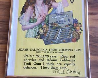 Antique Chewing Gum Advertising Print 1917 Adams California