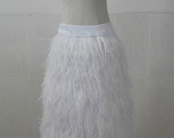 Long ostrich feather A-line feather skirt  #SKT16004BT