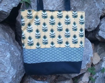 bag slung yellow and gray feathers and Japanese patterns