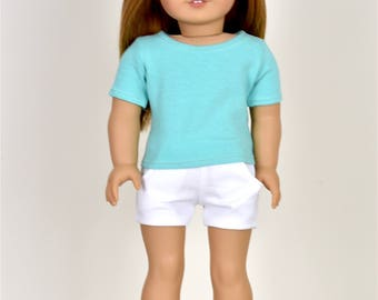 Basic Top short sleeve Mint/Aqua 18 inch doll clothes