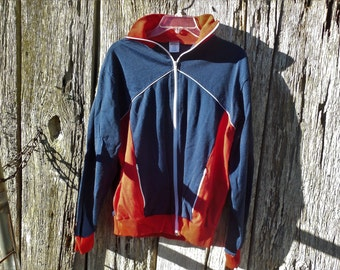 Vintage warm up jacket zip up size large red white blue hipster Trypace London nylon cotton blend
