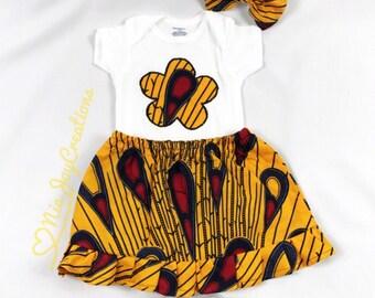 African Kids Clothing: Jess Skirt Set (Iris). Baby Girl Gift, Baby Gift, Ankara Baby Clothing, African Print Baby Clothing