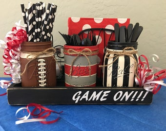 Ball Mason Jar, Set of 3, Silverware Caddy, Football, Choose Team Colors, Game Day Party, Man Cave Gift, Optional Wood Tray