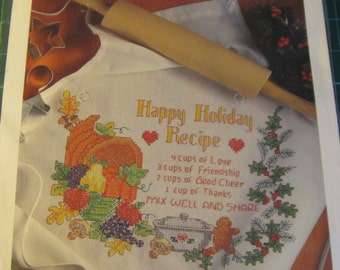 BUCILLA, stamped, cross stitch, holiday apron kit, mailed from Canada