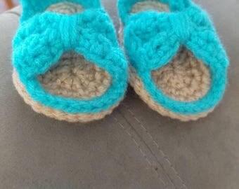 Crochet baby bow sandals, baby booties