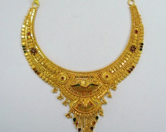 Traditional design 22kt gold necklace handmade gold choker filigree work