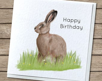 Wild Hare in Spring Greetings Card - Birthday, Thank You, Every Occasion
