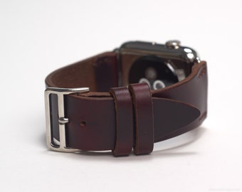 Apple Watch Leather Strap with Official Apple Adapters (42mm) in Burgundy Horween Chromexcel Strip Leather