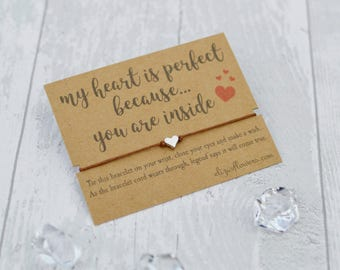 Wish Bracelet, Girlfriend Wish Bracelet, Boyfriend Wish Bracelet, Love Wish Bracelet, Heart Bracelet, Bracelet and Gift Card, My Heart.