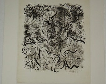Andre Masson, surrealism, self-portrait, vintage, etching, France, painter, illustrator, decorator, automatic drawings,  Free shipping,