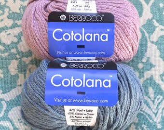Berroco COTOLANA 6.50 +.99 Shipping Cotton Wool Blend - Madder Pink 3515, Witchhazel Blue 3525 Soft, Tight Chainette