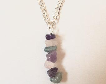 Amethyst, Rose Quartz and Amazonite crystal necklace