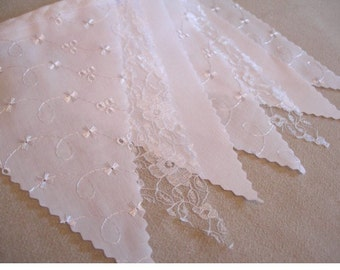 Broderie Anglais, White Cotton and Lace Bunting ideal for weddings