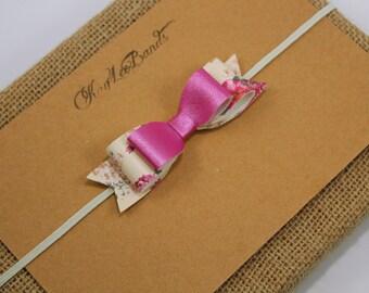 Vintage rose headband, rose headband, pink headband, rose headband for baby, leather bow headband, newborn headband, headband for girl