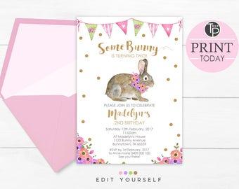 Bunny Invitations Etsy