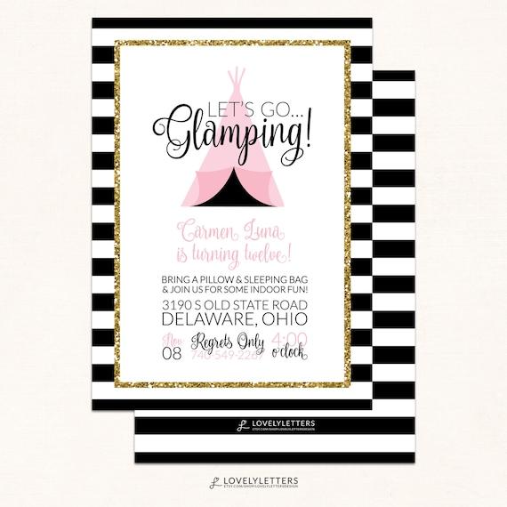 Glamping Birthday Invitations Camping Invitation Digital Invite