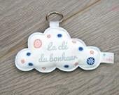 """Porte clés nuage """"La clé du bonheur"""" - coloris bleu et rouge"""