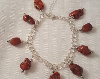 Red Stone Charm Bracelet - Srone Charm Bracelet - Red Charm Bracelet - Red Bracelet - Stone Bracelet - Red Jewelry - Stone Jewelry - Red
