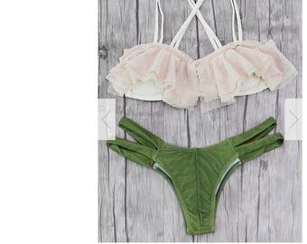 Flouncy Bikini Mixed Color set Green/White