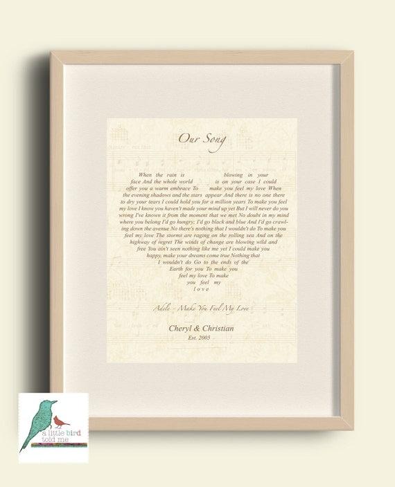 Christmas Song The Gift Lyrics: Song Lyrics Heart Print Heart Shape Christmas Gift / Wedding