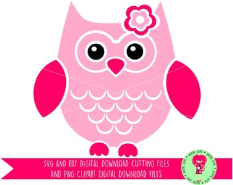 Owl SVG / DXF Cutting Files for Cricut Design Space / Silhouette Studio & PNG Clipart, Digital Download, Commercial Use Ok