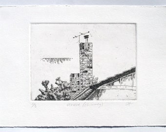 House (chimney) - etching