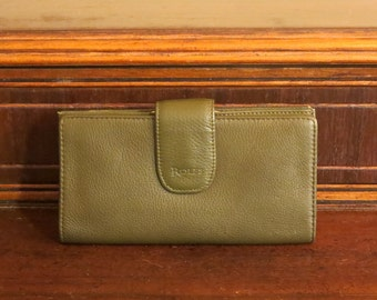 Rolfe Green Leather Combination Wallet Checkbook and Kisslock Coin Purse- EUC
