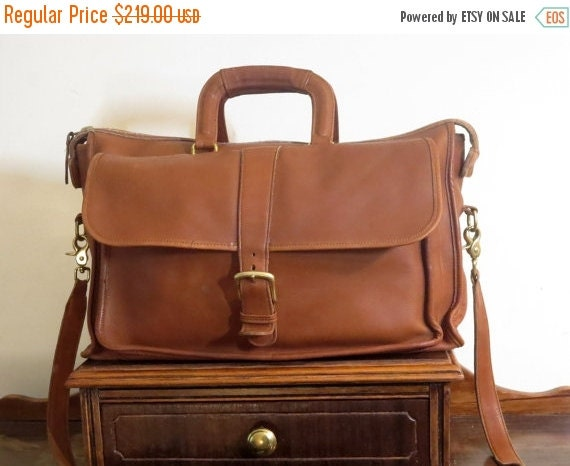 Football Days Sale Coach Harrison Multi-Compartment Briefcase Laptop Carrier In British Tan Leather U.S.A. Made - Rare Bag -Very Good Condit