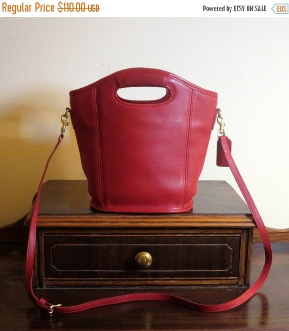 Football Days Sale Coach Mini Shopper Red Leather Tote Made In The United States- VGC