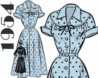 "1950s Sewing Pattern 1950s Dress Pattern MAIL ORDER 9279 bust 36"" Shirtwaist Dress Round Yoke Full Skirt Front Button Dress Vintage Dress"