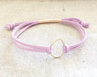 Gold Droplet Essential Oil Diffuser Bracelet - Lilac Faux Suede - Adjustable - Gold Drop
