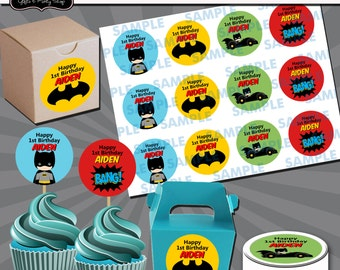 Batman Cupcake Toppers-Batman Stickers-Batman tags-Batman Party-Batman Favors-Batman labels-Batman cupcake toppers-Superhero labels-Batman