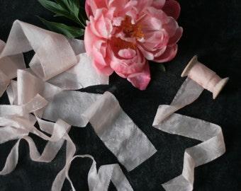 Hand dyed silk ribbons, peach, 1 m/1,09 yard