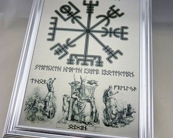 Viking RUNE Framed WALL ART with Vegvisir Compass, Odin, Thor and Freyja, Can be Personalised with your Own Rune Message