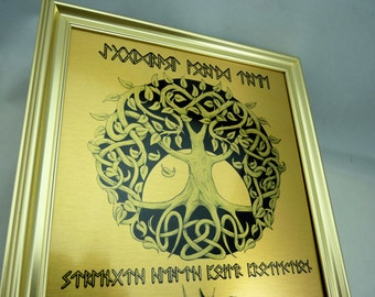 Rune Viking Yggdrasil World Tree  WALL ART - Odin, Thor & Freya Art Print on Brushed Gold Metal complete with Gold Frame