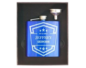 Personalized Engraved Gift Box, Custom Groomsman Hip Flask, Wedding Flask +Funnel, Best Man, Bachelor Party, Birthday, Invitation, Groom