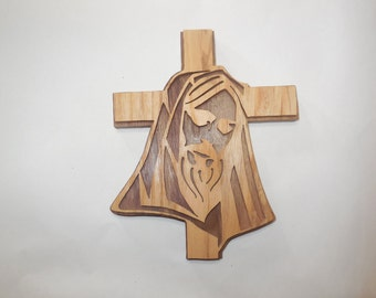 stacked jesus wooden wall cross made of ash and walnut