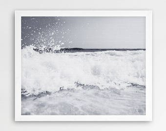 Ocean Wave Print, Beach Decor, Coastal Wall Art, Wave Print, Grey Black And White Photography, Sea Photo, Modern, Contemporary Printable Art