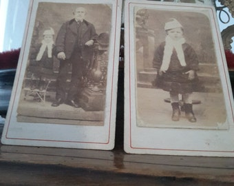 2 antique french post mortem CDV photos