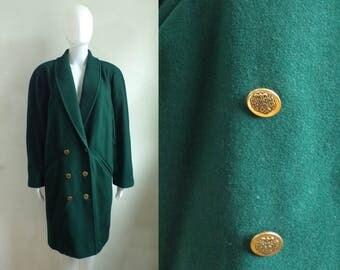 40%offAug18-21 felted wool coat size medium, 80s green double breasted wool coat, 1980s minimalist womens coat, military coat