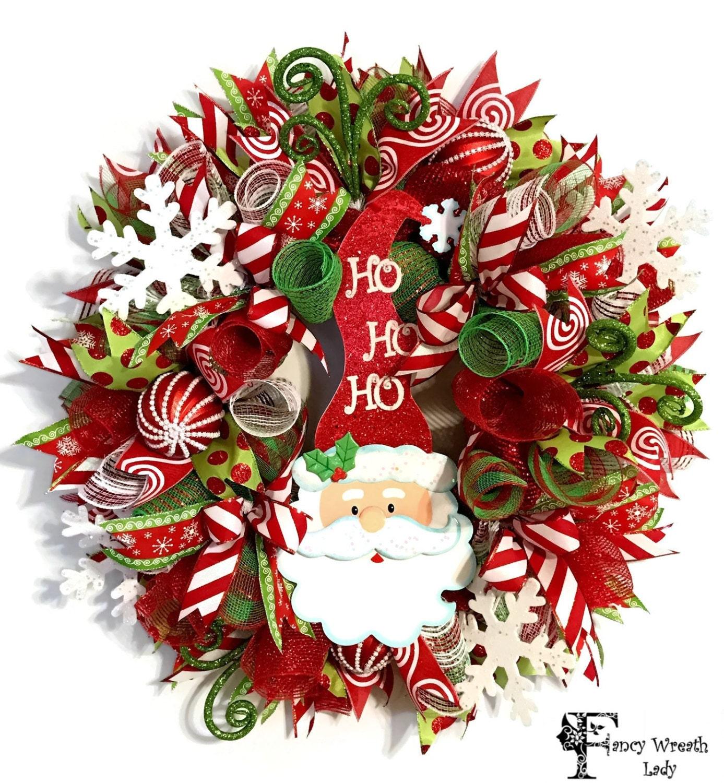 Deco Mesh Christmas Tree Wreath: SANTA Claus Deco Mesh Wreath Whimsical Santa CHRISTMAS