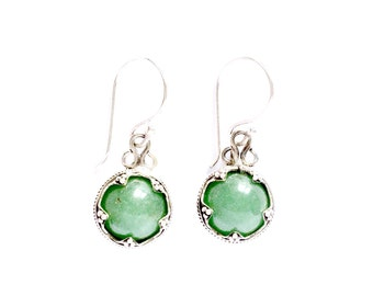 Aventurine Silver Gotland Earrings VIKING KRISTALL Filigree