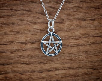 Pentacle, Pentagram, Charm or Earrings - STERLING SILVER- Chain Optional