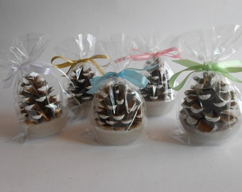25 Snow Pine Cones Fire Starter Wedding Favors , Winter wedding fire starter, Wedding Favor - woodland, victorian,rustic, shabby chic,